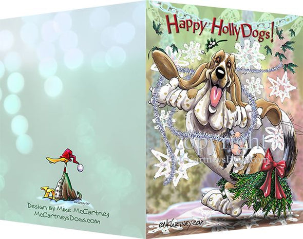 Basset Hound - Happy Holly Dog Pine Skirt - Christmas Card