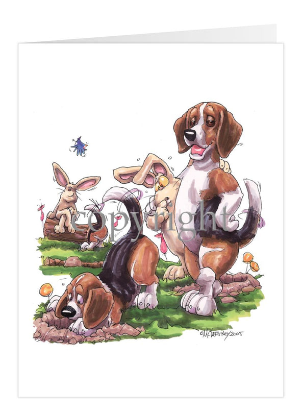 Beagle - Digging With Rabbits - Caricature - Card