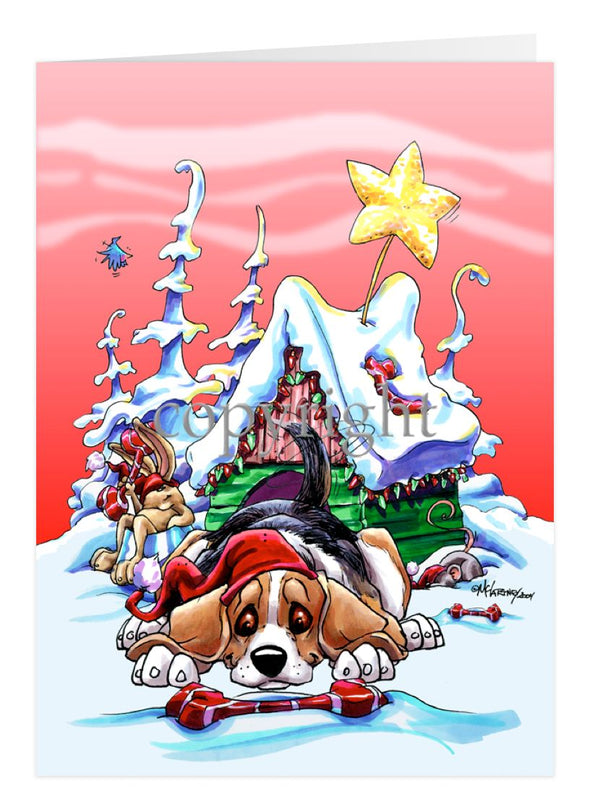Beagle - Doghouse - Christmas Card
