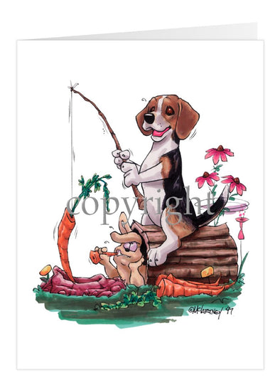 Beagle - Fishing With Carrot - Caricature - Card