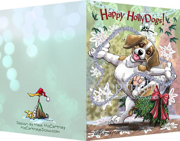 Beagle - Happy Holly Dog Pine Skirt - Christmas Card
