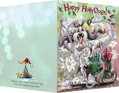 Bearded Collie - Happy Holly Dog Pine Skirt - Christmas Card