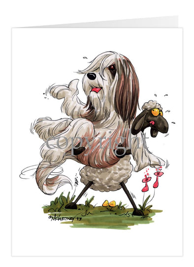 Bearded Collie - Sheep Holding Up Beardie - Caricature - Card