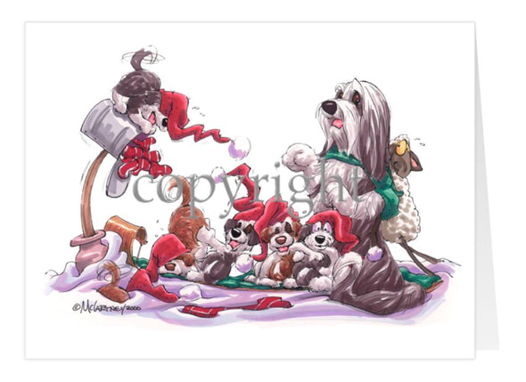 Bearded Collie - Toboggan - Christmas Card