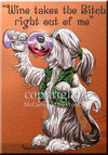 Bearded Collie - Wine Takes The Bitch - Cutting Board