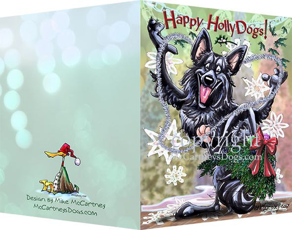 Belgian Sheepdog - Happy Holly Dog Pine Skirt - Christmas Card