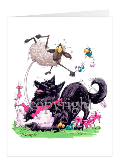 Belgian Sheepdog - Puppy Pose Chasing Sheep - Caricature - Card