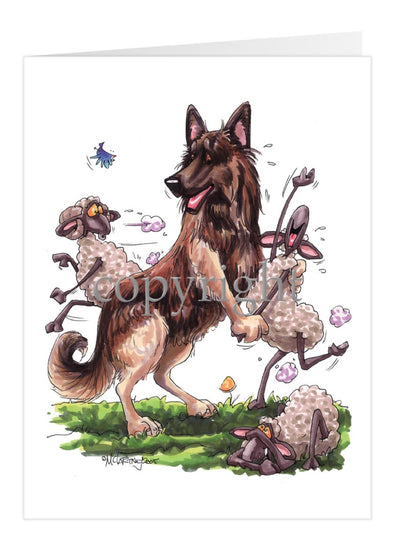 Belgian Tervuren - Dancing Sheep - Caricature - Card