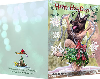 Belgian Tervuren - Happy Holly Dog Pine Skirt - Christmas Card