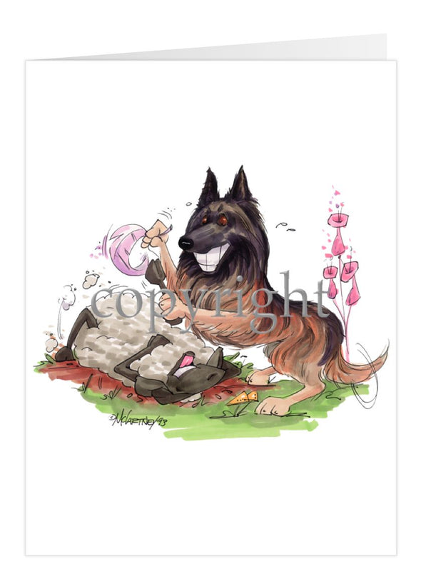 Belgian Tervuren - Tickling Sheep - Caricature - Card