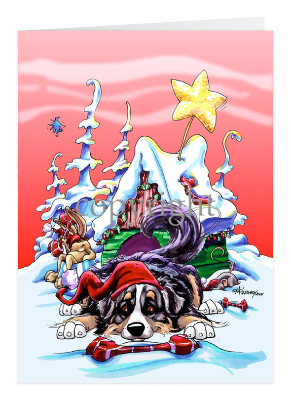 Bernese Mountain Dog - Doghouse - Christmas Card