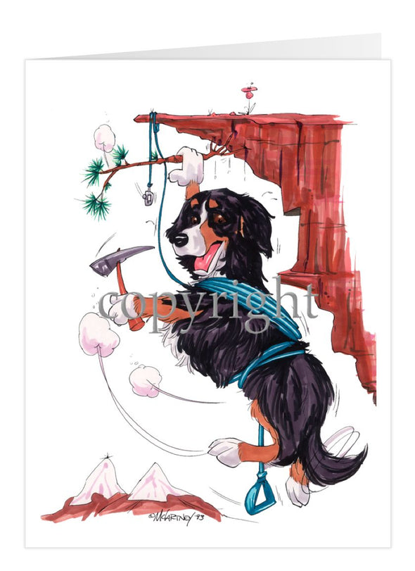 Bernese Mountain Dog - Hanging From Cliff - Caricature - Card