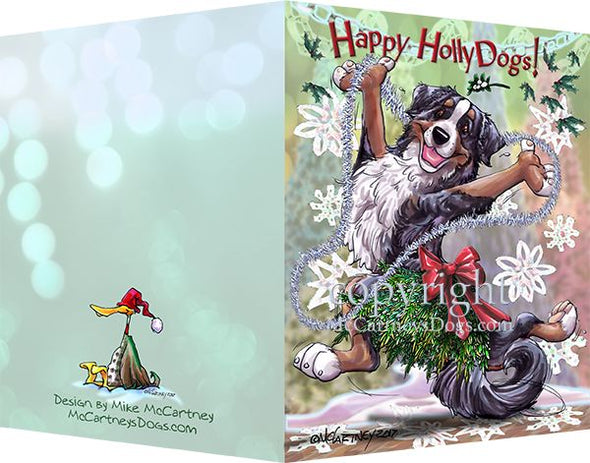 Bernese Mountain Dog - Happy Holly Dog Pine Skirt - Christmas Card