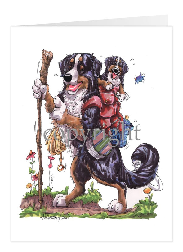 Bernese Mountain Dog - Hiking With Backpack - Caricature - Card