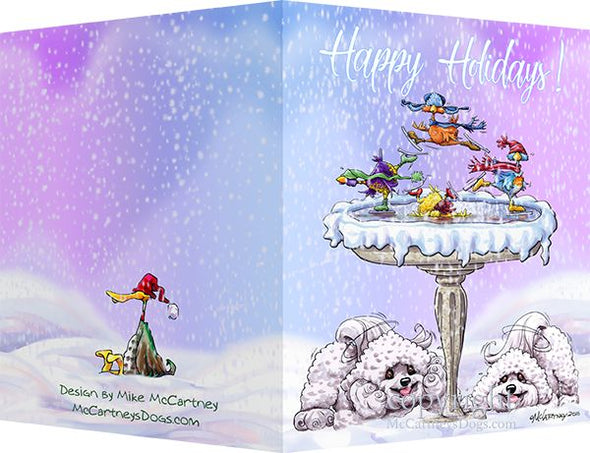 Bichon Frise - Frozen Bird Bath - Christmas Card
