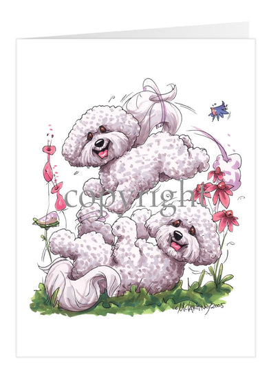 Bichon Frise - Group Playing - Caricature - Card