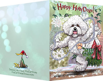 Bichon Frise - Happy Holly Dog Pine Skirt - Christmas Card