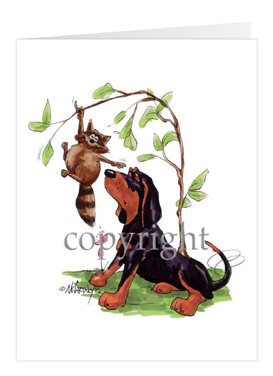 Black And Tan Coonhound - Caricature - Card