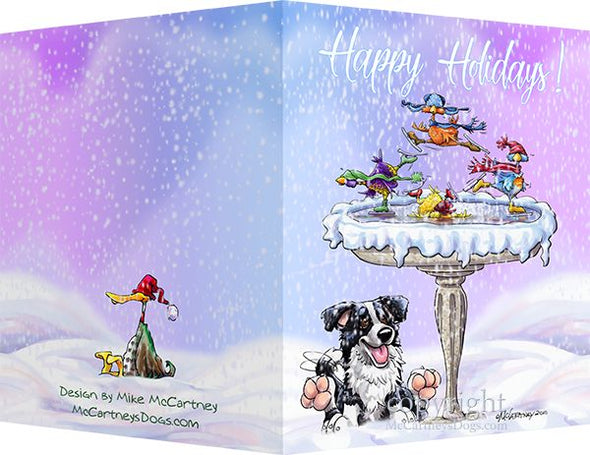 Border Collie - Frozen Bird Bath - Christmas Card