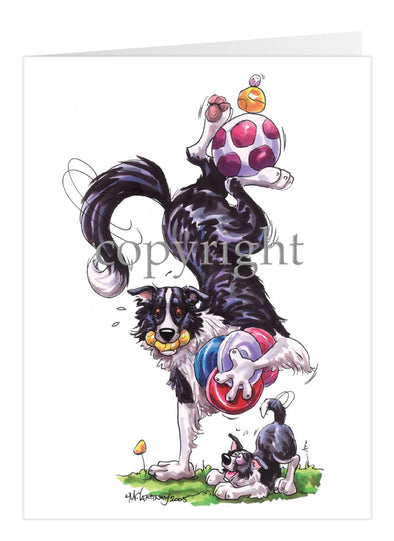 Border Collie - Hand Stand With Toys - Caricature - Card