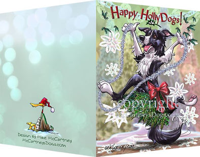 Border Collie - Happy Holly Dog Pine Skirt - Christmas Card