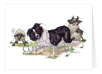 Border Collie - Herding Sheep - Caricature - Card