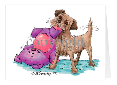 Border Terrier - With Stuffed Toy - Caricature - Card