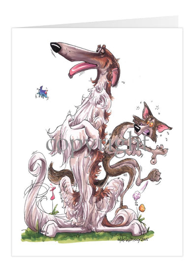 Borzoi - Sitting With Wolf  - Caricature - Card