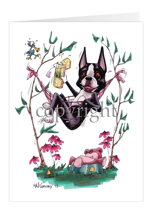 Boston Terrier - Hammock - Caricature - Card