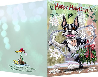 Boston Terrier - Happy Holly Dog Pine Skirt - Christmas Card
