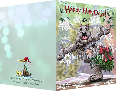 Bouvier Des Flandres - Happy Holly Dog Pine Skirt - Christmas Card