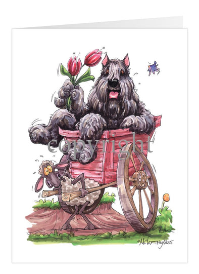 Bouvier Des Flandres - Sitting In Wooden Cart - Caricature - Card