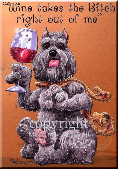 Bouvier Des Flandres - Wine Takes The Bitch - Cutting Board