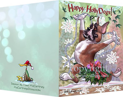 Boxer - Happy Holly Dog Pine Skirt - Christmas Card