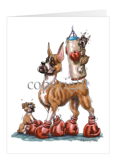 Boxer - Puppies With Boxing Bag - Caricature - Card
