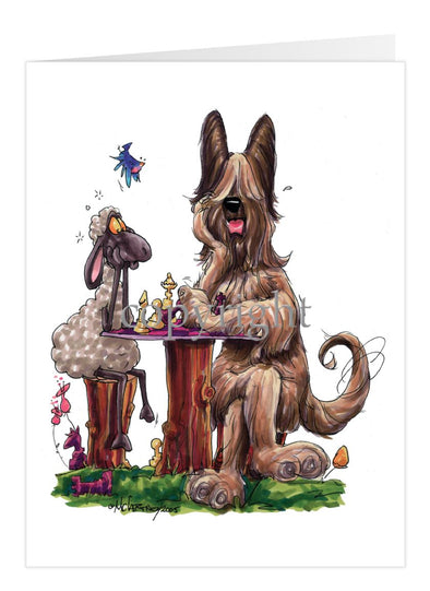 Briard - Playing Chess With Sheep - Caricature - Card