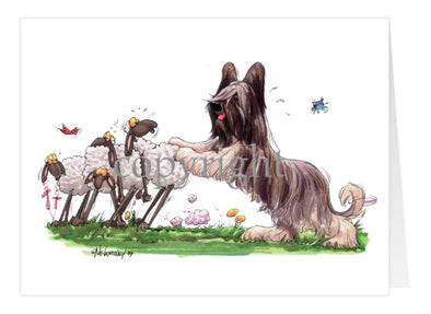 Briard - Pushing Sheep - Caricature - Card