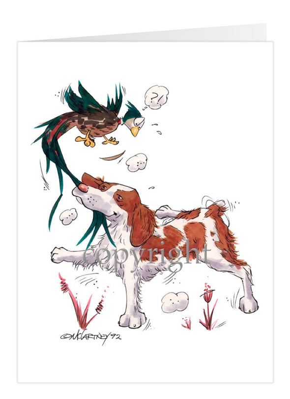 Brittany - Grabbing Pheasants Tail - Caricature - Card