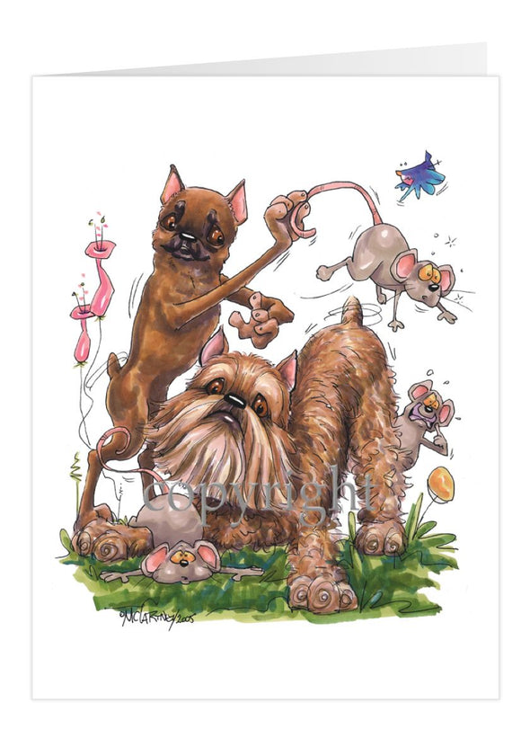 Brussels Griffon - Group With Mice - Caricature - Card