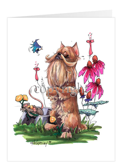Brussels Griffon - Sitting Crossing Arms - Caricature - Card