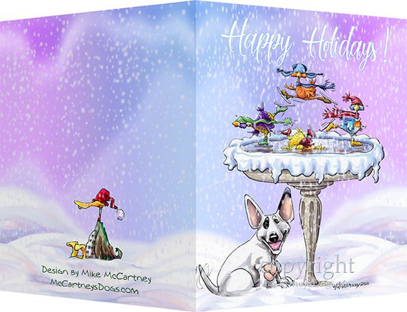 Bull Terrier - Frozen Bird Bath - Christmas Card