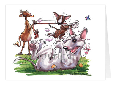 Bull Terrier - Group With Cow - Caricature - Card