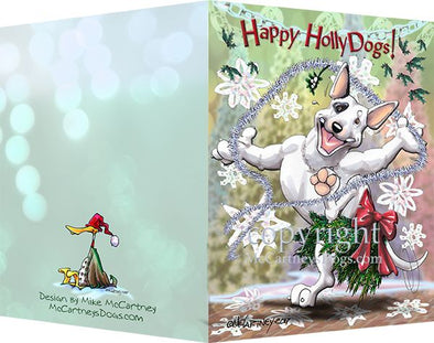 Bull Terrier - Happy Holly Dog Pine Skirt - Christmas Card