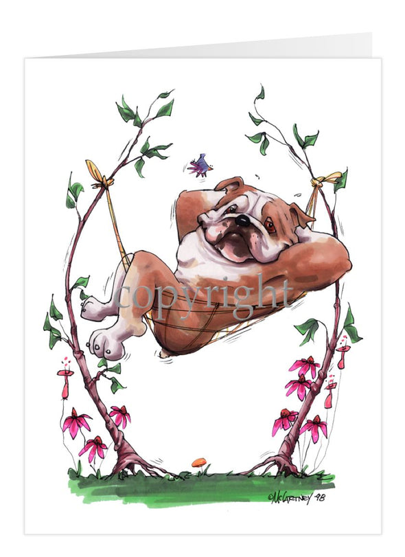Bulldog - Hammock - Caricature - Card