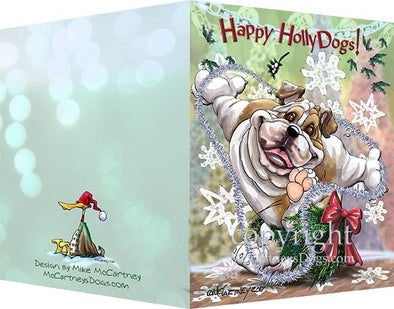 Bulldog - Happy Holly Dog Pine Skirt - Christmas Card