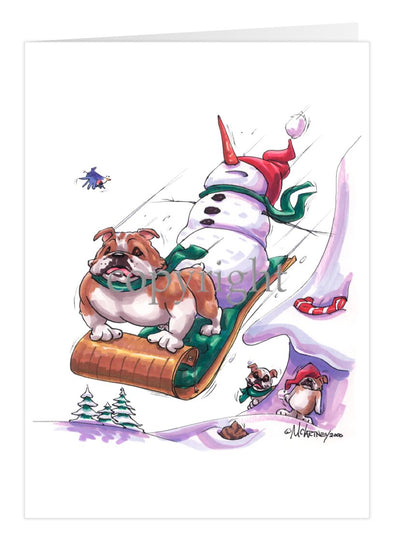 Bulldog - Toboggan - Christmas Card
