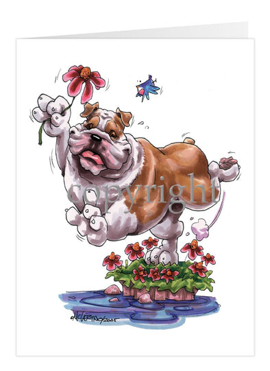 Bulldog - With Flower - Caricature - Card