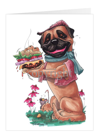 Bullmastiff - Cheeseburger - Caricature - Card