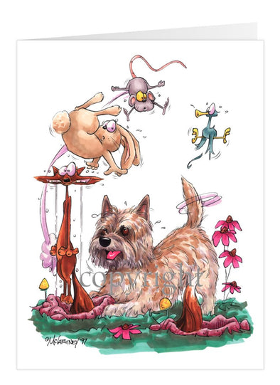 Cairn Terrier - Chasing Fox And Rabbit - Caricature - Card