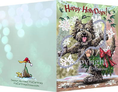 Cairn Terrier - Happy Holly Dog Pine Skirt - Christmas Card